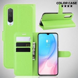 Чехол книжка кошелек с отделениями для карт и подставкой для Xiaomi Mi 9 lite - Зеленый