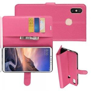 Чехол книжка кошелек с отделениями для карт и подставкой для Xiaomi Mi Max 3 - Розовый