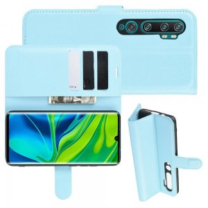 Чехол книжка кошелек с отделениями для карт и подставкой для Xiaomi Mi Note 10 - Голубой