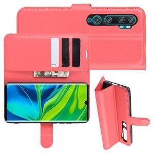 Чехол книжка кошелек с отделениями для карт и подставкой для Xiaomi Mi Note 10 - Красный
