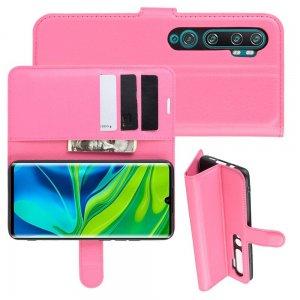 Чехол книжка кошелек с отделениями для карт и подставкой для Xiaomi Mi Note 10 - Светло-Розовый