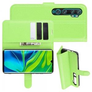 Чехол книжка кошелек с отделениями для карт и подставкой для Xiaomi Mi Note 10 - Зеленый