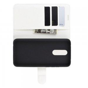 Чехол книжка кошелек с отделениями для карт и подставкой для Xiaomi Redmi 8 - Белый