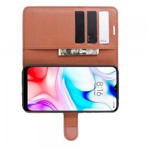 Чехол книжка кошелек с отделениями для карт и подставкой для Xiaomi Redmi 8 - Коричневый