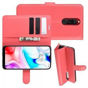 Чехол книжка кошелек с отделениями для карт и подставкой для Xiaomi Redmi 8 - Красный
