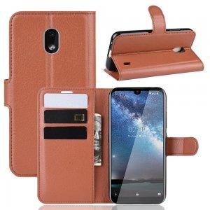 Чехол книжка кошелек с отделениями для карт и подставкой для Xiaomi Redmi 8A - Коричневый