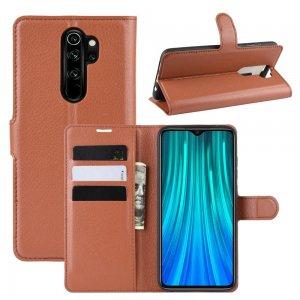 Чехол книжка кошелек с отделениями для карт и подставкой для Xiaomi Redmi Note 8 Pro - Коричневый