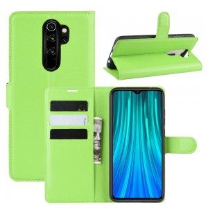 Чехол книжка кошелек с отделениями для карт и подставкой для Xiaomi Redmi Note 8 Pro - Зеленый