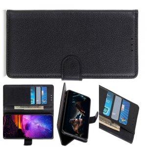 Чехол книжка кошелек с отделениями для карт и подставкой для Xiaomi Redmi Note 8T - Черный