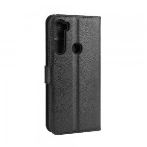 Чехол книжка кошелек с отделениями для карт и подставкой для Xiaomi Redmi Note 8 - Черный