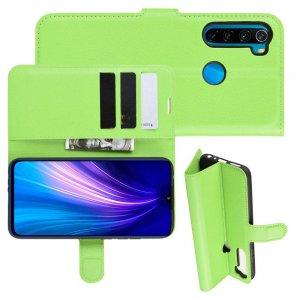 Чехол книжка кошелек с отделениями для карт и подставкой для Xiaomi Redmi Note 8T - Зеленый