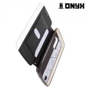 Чехол книжка с окном для LG K10 K410 K430DS - Черный
