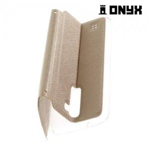 Чехол книжка с окном для LG K10 K410 K430DS - Золотой