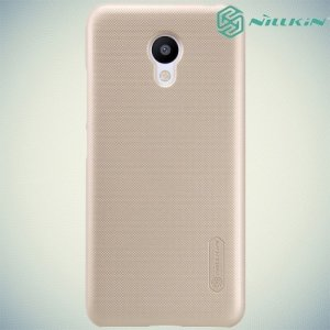 Чехол накладка Nillkin Super Frosted Shield для Meizu m3s mini - Золотой