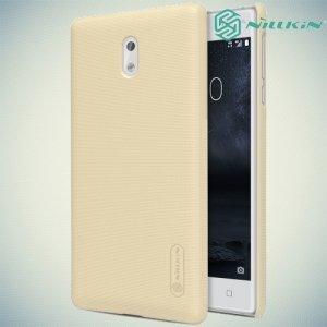 Чехол накладка Nillkin Super Frosted Shield для Nokia 3 - Золотой