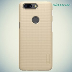 Чехол накладка Nillkin Super Frosted Shield для OnePlus 5T - Золотой