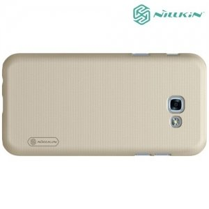 Чехол накладка Nillkin Super Frosted Shield для Samsung Galaxy A3 2017 SM-A320F - Золотой