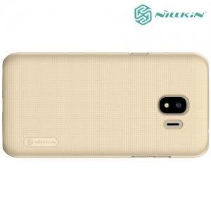 Чехол накладка Nillkin Super Frosted Shield для Samsung Galaxy J2 (2018) SM-J250F - Золотой