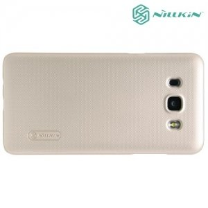 Чехол накладка Nillkin Super Frosted Shield для Samsung Galaxy J5 2016 SM-J510 - Золотой
