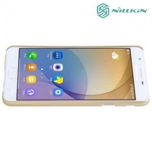 Чехол накладка Nillkin Super Frosted Shield для Samsung Galaxy J5 Prime - Золотой