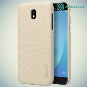 Чехол накладка Nillkin Super Frosted Shield для Samsung Galaxy J7 2017 SM-J730F - Золотой