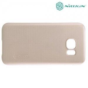 Чехол накладка Nillkin Super Frosted Shield для Samsung Galaxy S7 - Золотой
