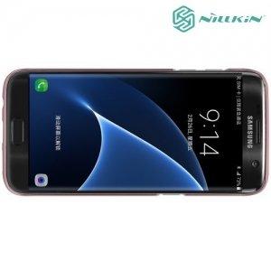 Чехол накладка Nillkin Super Frosted Shield для Samsung Galaxy S7 Edge - Розовое золото
