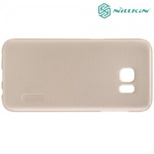 Чехол накладка Nillkin Super Frosted Shield для Samsung Galaxy S7 Edge - Золотой