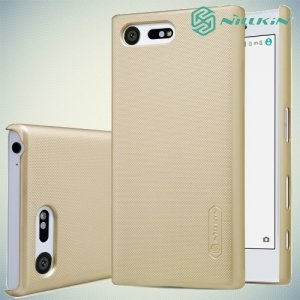 Чехол накладка Nillkin Super Frosted Shield для Sony Xperia X Compact - Золотой