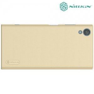 Чехол накладка Nillkin Super Frosted Shield для Sony Xperia XA1 Plus - Золотой