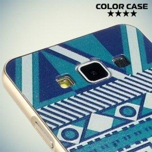 Чехол с металлическим бампером для Samsung Galaxy А3 - с рисунком Синие узоры