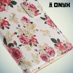 Чехол книжка для LG G4 с орнаментом Розы на белом