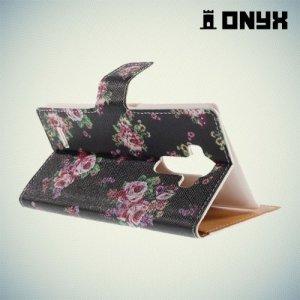 Чехол книжка для LG G4 с орнаментом Розы на черном