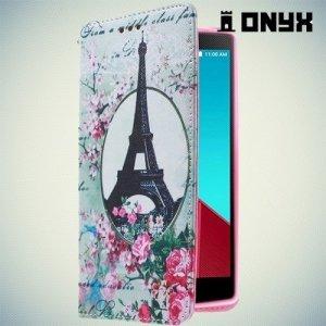 Чехол книжка для LG G4 с рисунком Париж