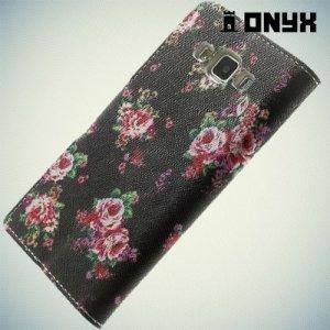 Чехол книжка для Samsung Galaxy A5 с орнаментом Розы на черном