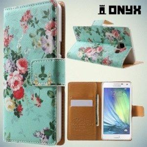 Чехол книжка для Samsung Galaxy A5 с орнаментом Розы на голубом