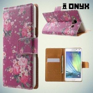 Чехол книжка для Samsung Galaxy A5 с орнаментом Розы на розовом