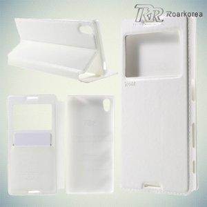 Чехол книжка с окном для Sony Xperia Z5 из экокожи RoarKorea - Белый