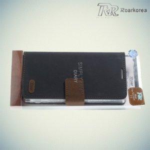 Чехол книжка для Sony Xperia Z5 Кошелек RoarKorea - Черный
