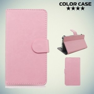 Чехол книжка для телефона 4.7 дюйма универсальный - Светло розовый