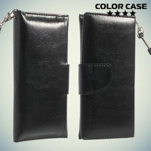 Чехол кошелек-сумка для телефона 3.7-4.3 дюйма - черный