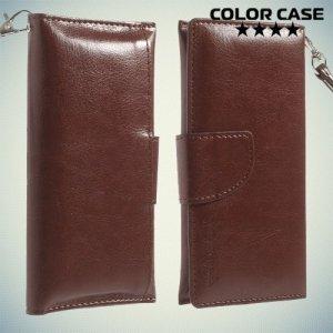 Чехол кошелек-сумка для телефона 3.7-4.3 дюйма - коричневый