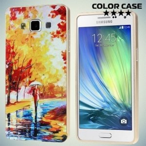Чехол с металлическим бампером для Samsung Galaxy A5 с орнаментом ОСЕНЬ