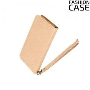 Чехол сумка для телефона 5 - 5.5 дюймов FashionCase - бежевый