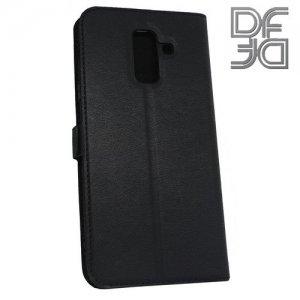 DF флип чехол книжка для Samsung Galaxy A6 Plus 2018 - Черный
