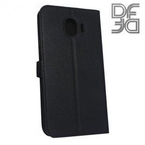 DF флип чехол книжка для Samsung Galaxy J4 2018 SM-J400F - Черный