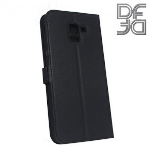 DF флип чехол книжка для Samsung Galaxy J6 2018 SM-J600F - Черный