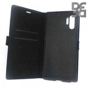 DF флип чехол книжка для Samsung Galaxy Note 10 Plus / 10+ - Черный