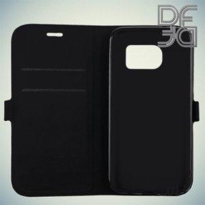 DF флип чехол книжка для Samsung Galaxy S7 - Черный