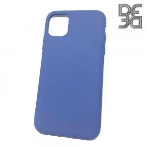 DF Мягкий силиконовый чехол для iPhone 11 с микрофибровой подкладкой синий